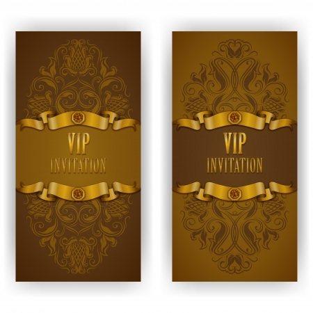 Elegant template luxury invitation, card with lace ornament, place for text  Floral elements, ornate background  Vector illustration EPS 10  Vector
