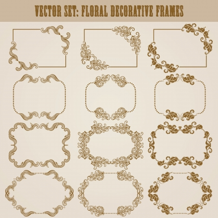 Vector set of decorative ornate frame with floral elements for invitations. Page decoration. Vector