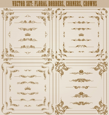 Vector set of gold decorative horizontal floral elements, corners, borders, frame, dividers, crown  Page decoration  Vector
