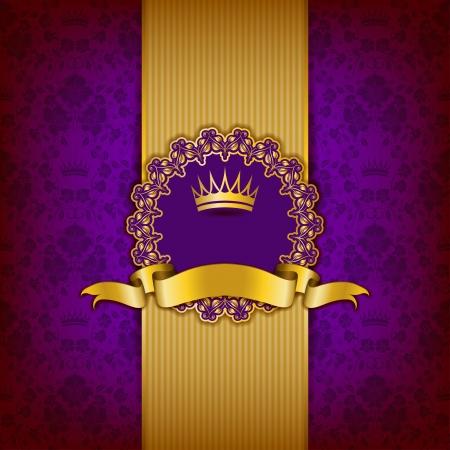 Luxus-Hintergrund mit Ornament, Rahmen, Krone, Band und Platz für Text.