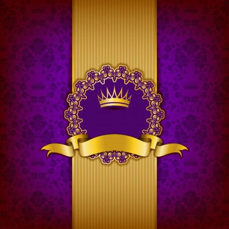 gold crown: Luxury background with ornament, frame, crown, ribbon and place for text.