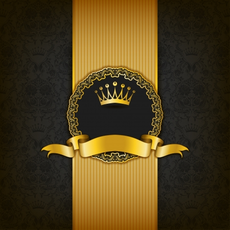 Luxury background with ornament, frame, crown, ribbon and place for text.