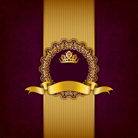 Luxe achtergrond met ornament, frame, kroon, lint en plaats voor tekst.