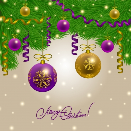 Festive background with balls, Christmas trees for cards, invitations. Vector illustration. EPS10. Stock Vector - 23269977