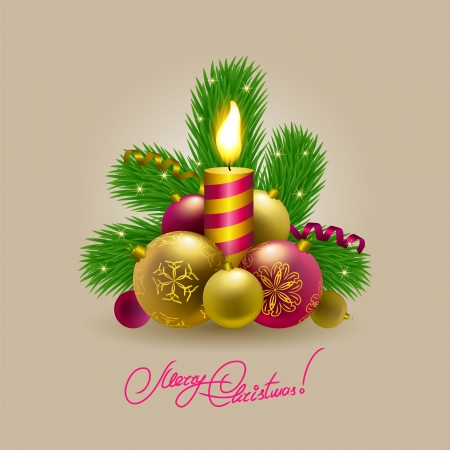 Festive background with Christmas balls, candle, serpentine and fir branches for cards, invitations. Vector illustration. EPS10. Vector