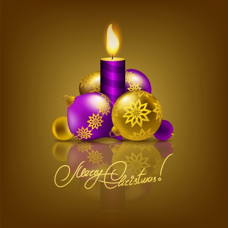 Festive background with Christmas balls, candle for greeting card, invitation. Vector illustration. EPS10. Vector