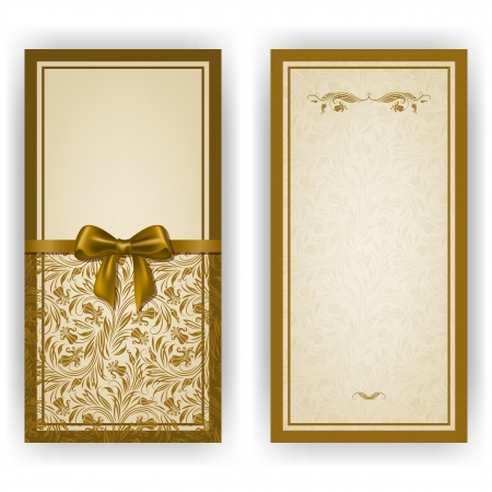 luxury template: Elegant template luxury invitation, card with lace ornament, bow, place for text. Floral elements, ornate background.  Illustration