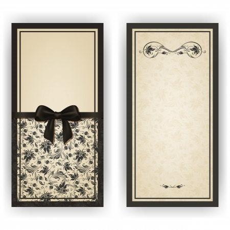 Elegant template luxury invitation, card with lace ornament, bow, place for text. Floral elements, ornate background.  Çizim