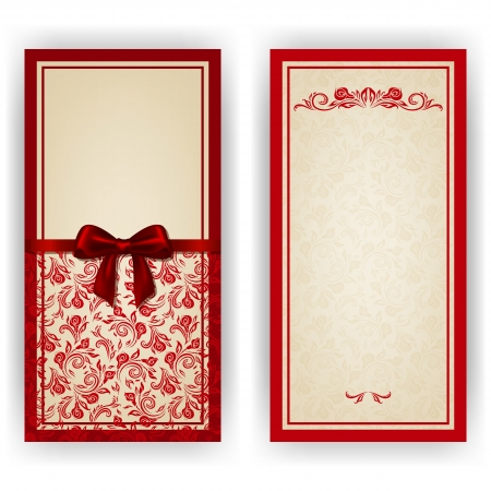 place for text: Elegant template luxury invitation, card with lace ornament, bow, place for text. Floral elements, ornate background.  Illustration