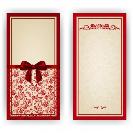 for text: Invito lusso modello elegante, carta con ornamenti di pizzo, fiocco, luogo per il testo. Elementi floreali, sfondo ornato.