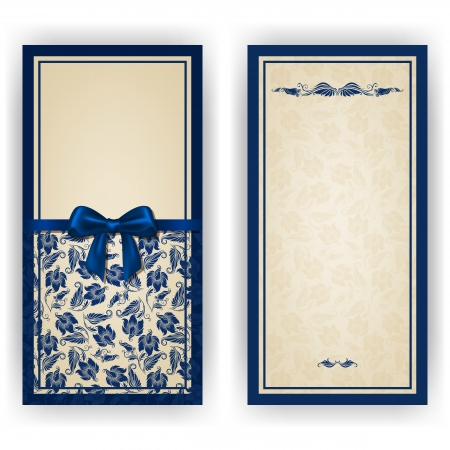 Elegant template luxury invitation, card with lace ornament, bow, place for text. Floral elements, ornate background.   イラスト・ベクター素材