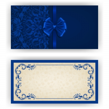 royal wedding: Elegant template luxury invitation, card with lace ornament, bow, place for text. Floral elements, ornate background
