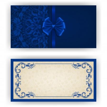 Invitation de luxe de modèle élégant, une carte avec l'ornement de dentelle, arc, place pour le texte. Éléments floraux, fond fleuri Banque d'images - 23685468