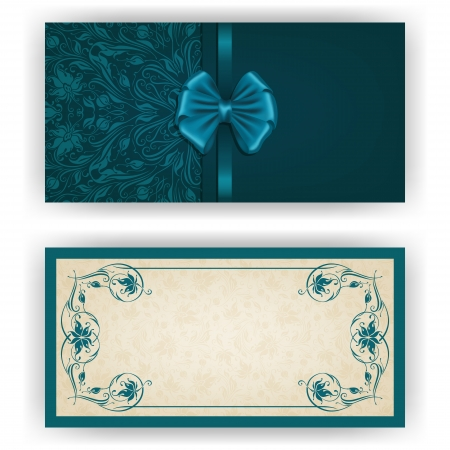 Elegant template luxury invitation, card with lace ornament, bow, place for text. Floral elements, ornate background.  Vector