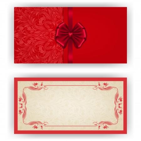 Invitation de luxe de modèle élégant, une carte avec l'ornement de dentelle, arc, place pour le texte. Éléments floraux, fond fleuri. Banque d'images - 23685473