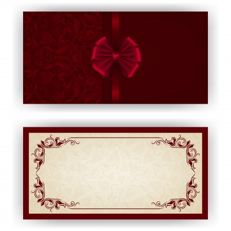 victorian fashion: Elegant template luxury invitation, card with lace ornament, bow, place for text. Floral elements, ornate background.