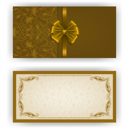 place card: Elegant template luxury invitation, card with lace ornament, bow, place for text. Floral elements, ornate background.