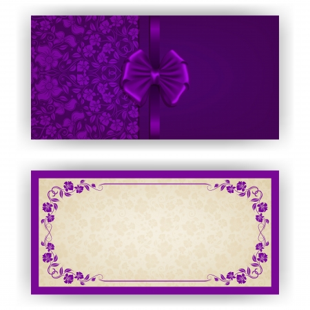 Elegant template luxury invitation, card with lace ornament, bow, place for text. Floral elements, ornate background.