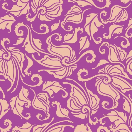 Seamless floral pattern  Flowers on a purple background  Vector illustration  Vector