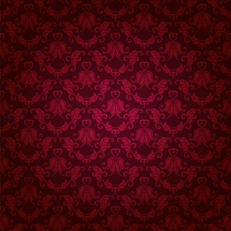 maroon: Damask seamless floral pattern  Royal wallpaper  Floral ornaments on a red background  Illustration