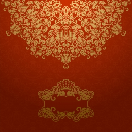 art deco border: Elegant gold frame banner with crown, floral elements on the ornate background