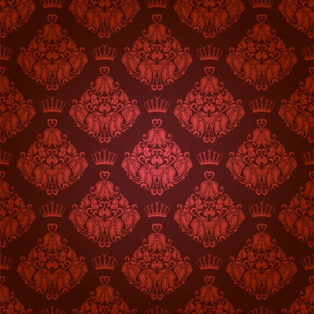 Damask seamless floral pattern  Royal wallpaper  Flowers, crowns on a background   Vector