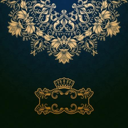 barroco: Banner de elegante marco de oro con la corona, elementos florales en el fondo adornado.