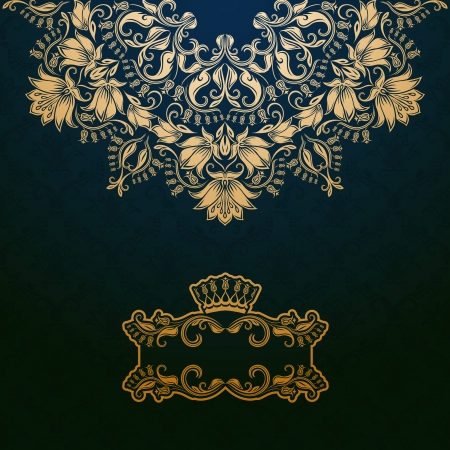 Elegant gold frame banner with crown, floral elements  on the ornate background.