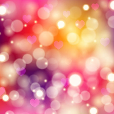 Abstract festive background with hearts, bokeh. Vector illustration EPS 10.