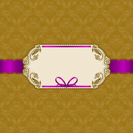 purple and gold: Template vector frame design for greeting card, invitation  Background - floral seamless pattern