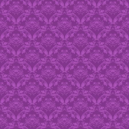 Damask seamless floral pattern Royal wallpaper Floral ornaments on a purple background Vector illustration