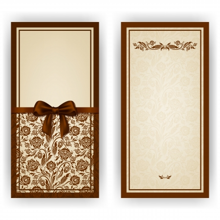 place card: Elegant template luxury invitation, card with lace ornament, bow, place for text  Floral elements, ornate background   Illustration