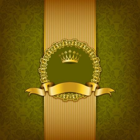 Fond de luxe avec l'ornement, cadre, couronne, ruban et le lieu pour les éléments floraux texte, fond fleuri Banque d'images - 25250651