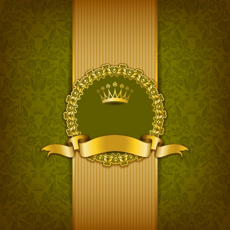 Luxury background with ornament, frame, crown, ribbon and place for text  Floral elements, ornate background   Illustration