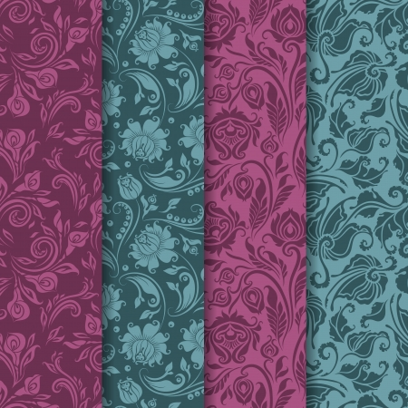 Set of 4 seamless floral pattern  Decorative flowers on a background  Vector