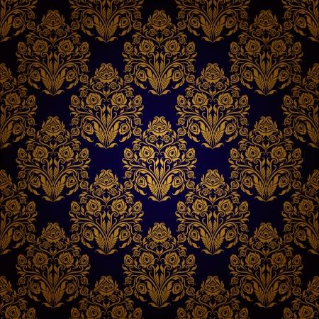royal blue background: Damask seamless floral pattern  Royal wallpaper  Floral ornaments on a dark background   Illustration