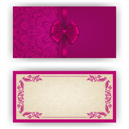 royal rich style: Elegant template luxury invitation, card with lace ornament, bow, place for text  Floral elements, ornate background
