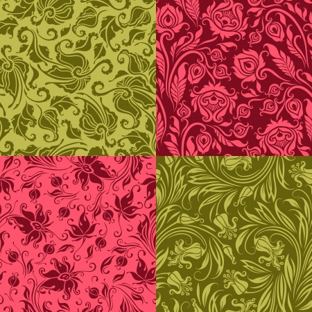 Set of 4 seamless floral pattern. Decorative flowers on a background. In vintage style. Vector