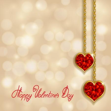 Elegant template for luxury invitation, card with heart, chain, diamond  Valentine s day vector bokeh background  Vector illustration EPS 10  Illustration