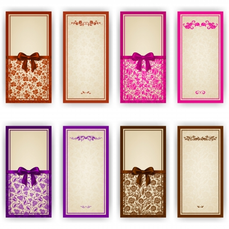 ornate background: Elegant template luxury invitation, greeting card with lace ornament, bow, place for text  Floral elements, ornate background  Vector illustration EPS 10