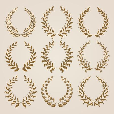 Set of vector golden laurel wreaths. Page decoration, florals elements. Vector illustration in vintage style. 일러스트