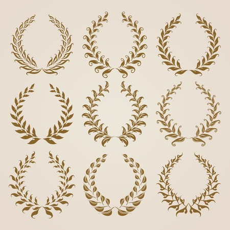 Set of vector golden laurel wreaths. Page decoration, florals elements. Vector illustration in vintage style. Çizim