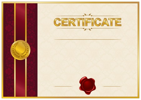 Elegant template of certificate, diploma with lace ornament, wax seal, place for text. Vector illustration EPS 8. Vector