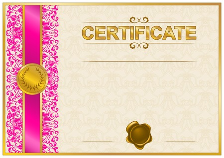 Elegant template of certificate, diploma with lace ornament, wax seal, place for text. Vector illustration EPS 8.