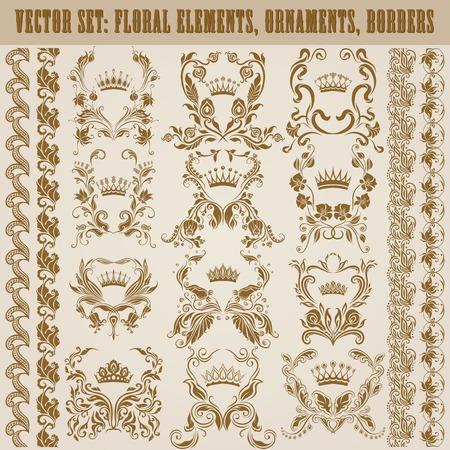 ornaments floral: Set of vector damask ornaments. Floral elements, borders, crowns for design. Page decoration. Illustration