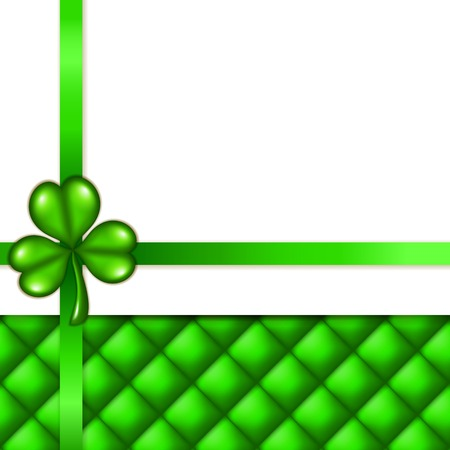 button tufted: Elegant template for luxury invitation, card with clover, ribbon, place for text   Saint Patrick s background  EPS 10