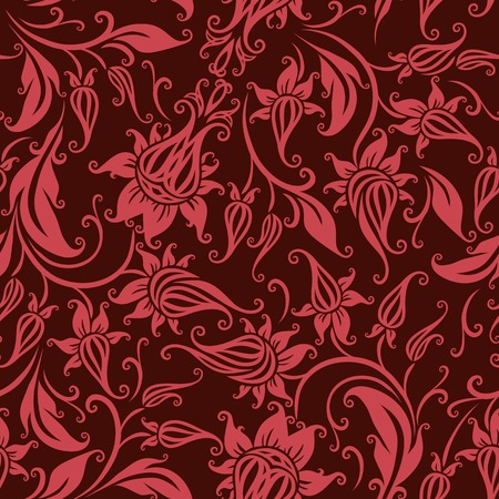 Vector seamless  floral pattern. Rose flowers on a brown background. Vector