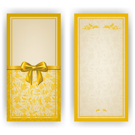 Elegant template luxury invitation, card with lace ornament, bow, place for text. Floral elements, ornate background. Vector illustration EPS10. Vector