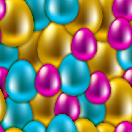 Vector Easter background. Seamless pattern of colorful shiny eggs for design. Vector illustration EPS 10. Vector
