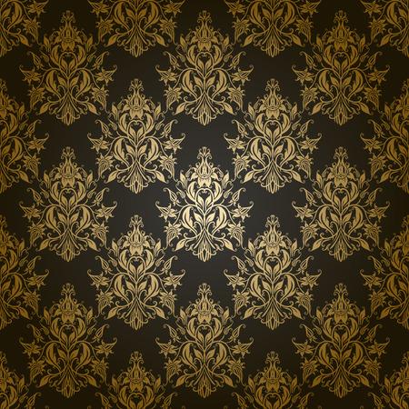 ダマスク織のシームレス花柄。ロイヤルの壁紙。灰色の背景に花。ベクトル イラスト EPS 10。